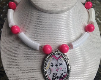 SALE Upcycled Vintage Inspired Barbie Cameo Necklace
