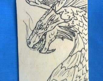 Wooden Magnet-Inked Dragon