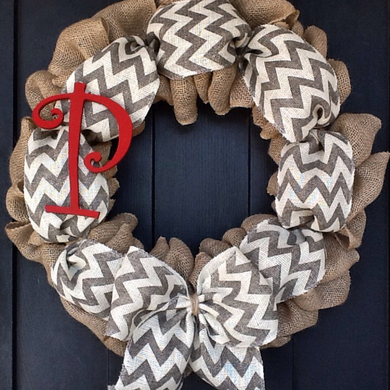 chevron burlap wreath spring wreath monogrammed wreath year
