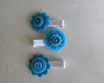 Blue Felt Flower Clips with Button Center (Set of 3) - Baby/Child/Adult