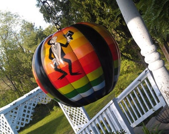 Vintage Retro Rainbow Color Hanging Globe Light Fixture With Cool Grasshopper In Tuxedo 1970s