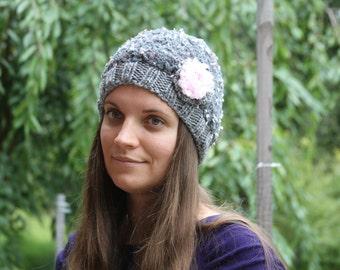 Women's Knitted hat. Adults grey hat. Flower hat. Crochet hat. Girls hat. Knitted womens hat.