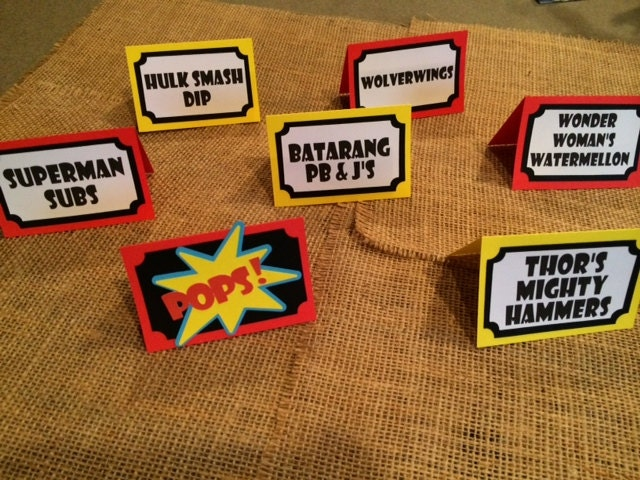 Superhero Party Food Labels Add The