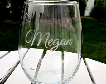 Etched Stemless Wine Glasses with One Name