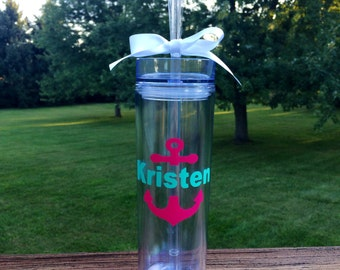 Skinny Tumbler with Anchor and Name - Your Choice of Font and Colors!