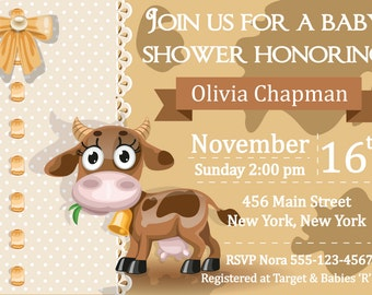 Cow-Themed Baby Shower Invite