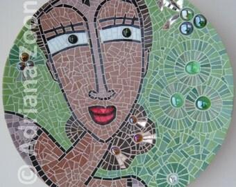 Spanish Lady. Glass Mosaic on bamboo plate.