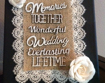 Hand made burlap and lace wedding Decor. Excellent center piece for tables and perfect to keep as home decor after the wedding! 22.00