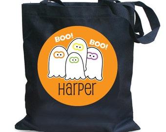 Personalized Halloween Treat bag, Kids Trick or Treat Bag, Ghost Treat Bag, Black Canvas Tote bag for Halloween, Halloween Bucket