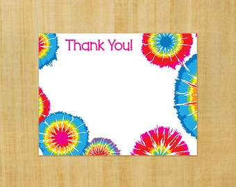 Printable Tie Dye Thank You Cards