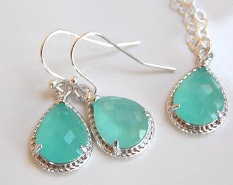 Bridesmaid Jewelry Set, Mint Earrings and Necklace Set, Aqua blue, Mint blue, Sterling Silver, Wedding Jewelry, Dangle, Bridesmaid Gift, Set