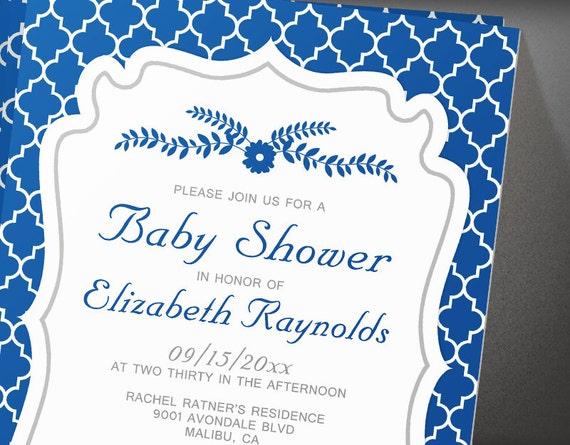 royal blue quatrefoil baby shower invitations by invitationsnob