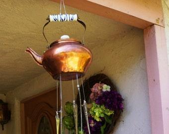 Vintage Copper Teapot & Cutlery  Windchime