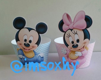 24 baby mickey and minnie cupcake wrappers