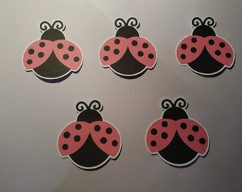 set of 24 pink lady bug die cuts/cupcake toppers/cakepop toppers