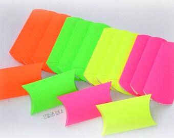 12 Fluorescent  Pillow Boxes-Candy Box, Favor Box, Gift Box-Set of 12pcs