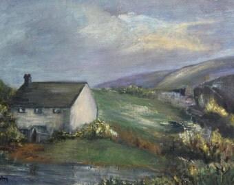 Vintage 1979 oil painting landscape signed