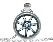 Car Rim Wheel Necklace, Gifts For Men, Gifts For Dad, Brother, Husband Necklace, Car Rim Necklace, Automobile Car Necklace Rim Pendant