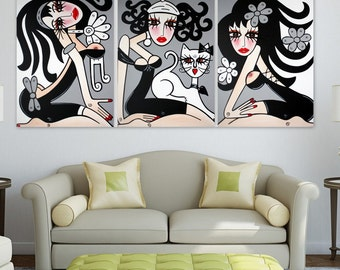 TRIPTYCH - Large Abstract Painting - Original Modern Pop Art - Abstract Modern Figure Art, Woman Painting NO 8