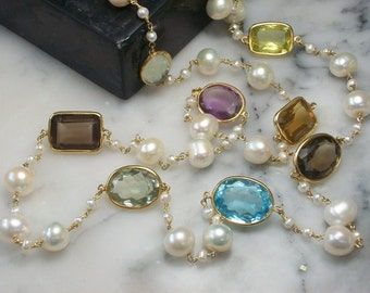 Long Pearl necklace with Prasolith Amethyst Topaz Citrin Smoky quartz Gold Silver