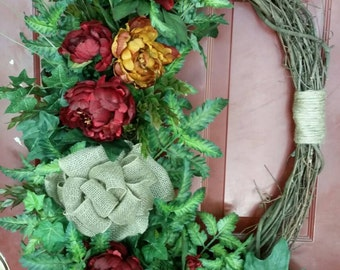 FREE SHIPPING, EXTRA Large, Beautiful, Floral Wreath, Everyday Wreath, Grapevine Wreath, Ready To Ship