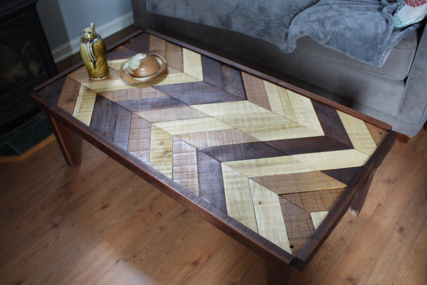 Rustic Hand Made Coffee Table Chevron Pattern