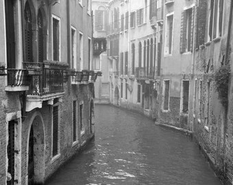 Venice Photography, Black and White Photography, Canal Houses, Travel Photo, Italy, water, Europe, Fog, Wall Art, Home Decor