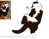 Customised cat portrait, digital illustration, personalised pet picture