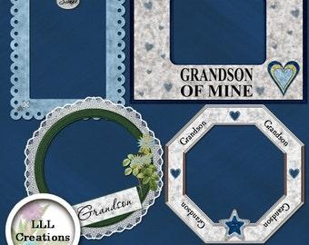 LLL Scrap Creations - Sweet Grandson Frames - Digital Scrapbooking Kit