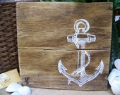 Anchor on wood - Reclaimed wood wall decor / art / sign - Anchor - hand painted