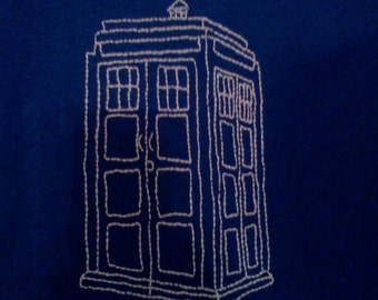 Hand embroidered Tardis T-Shirt, Glows in the Dark!!