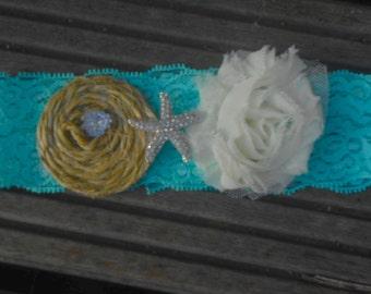 Sale  garter with crystal starfish garter- rustic wedding garter- tiffany lace garter-burlap rosette