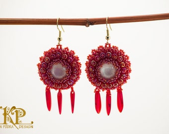 Romantic red earrings with dichroic glass cabochons, bead embroidery jewelry, perfect gift for her, unique art jewelry