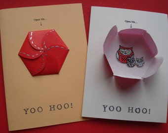 YOO HOO OWL ~ Kooky Handcrafted Greetings Card ~ Blank Inside For Your Own Message