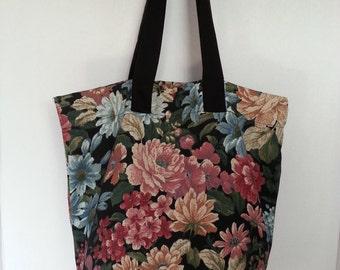 Black Floral Tote Bag - Floral Tote Bag - Canvas Tote -Grocery Tote - Fashion Tote - Handmade Tote - Tote Bag