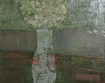 1986 Avant garde still life oil painting signed