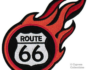ROUTE 66 FLAMES PATCH iron-on embroidered Road Sign Historic Highway Emblem biker applique