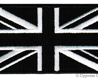 UNION JACK Black UK Flag Patch iron-on embroidered applique Top Quality