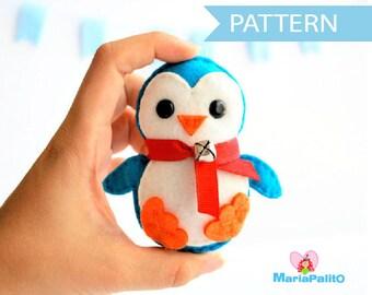 Penguin Pattern, Felt Penguin Christmas Ornament,  Felt Christmas Ornament Pattern,  Instant Download A656