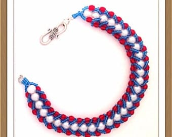 Bracelet Handmade by MWL red, white and blue bracelet. 0186