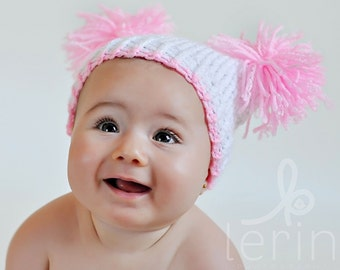 Knit Baby Sack Hat Newborn Pink - Ready to Ship