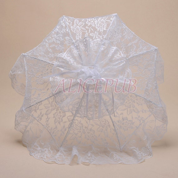 White Lace Parasol Handmade Wedding Umbrella Vintage By ALICEPUB