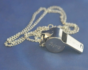 Personalized Whistle Necklace / Custom Engraved Name