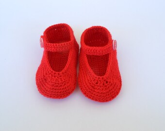 Shoes of baby crochet, Mary Jane-style handmade