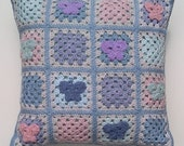 Butterfly crochet cushion cover. Granny square cushion cover