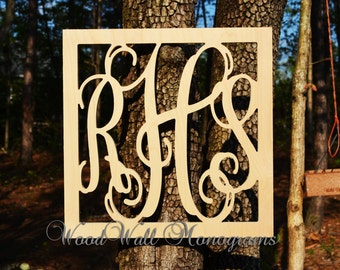 "26"" Vine Connected Monogram Letters Border Square - Unfinished"