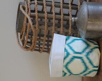 Up-cycled Turquoise Linen Bin or Basket- Medium. Fun Bathroom Storage, Study Storage or Bedroom Organisation!