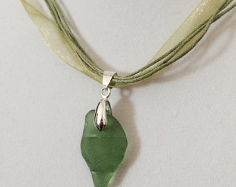 Genuine Green, Surf-tumbled, Baltic Sea Glass Pendant Necklace