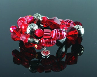 Red bead memory wire bracelet
