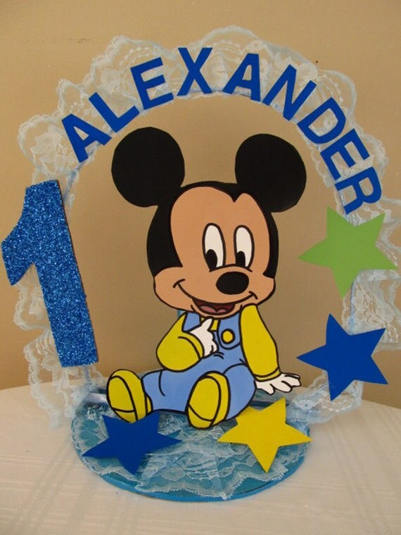 Baby Mickey Personalized 1st Birthday Cake Topper/Centerpiece